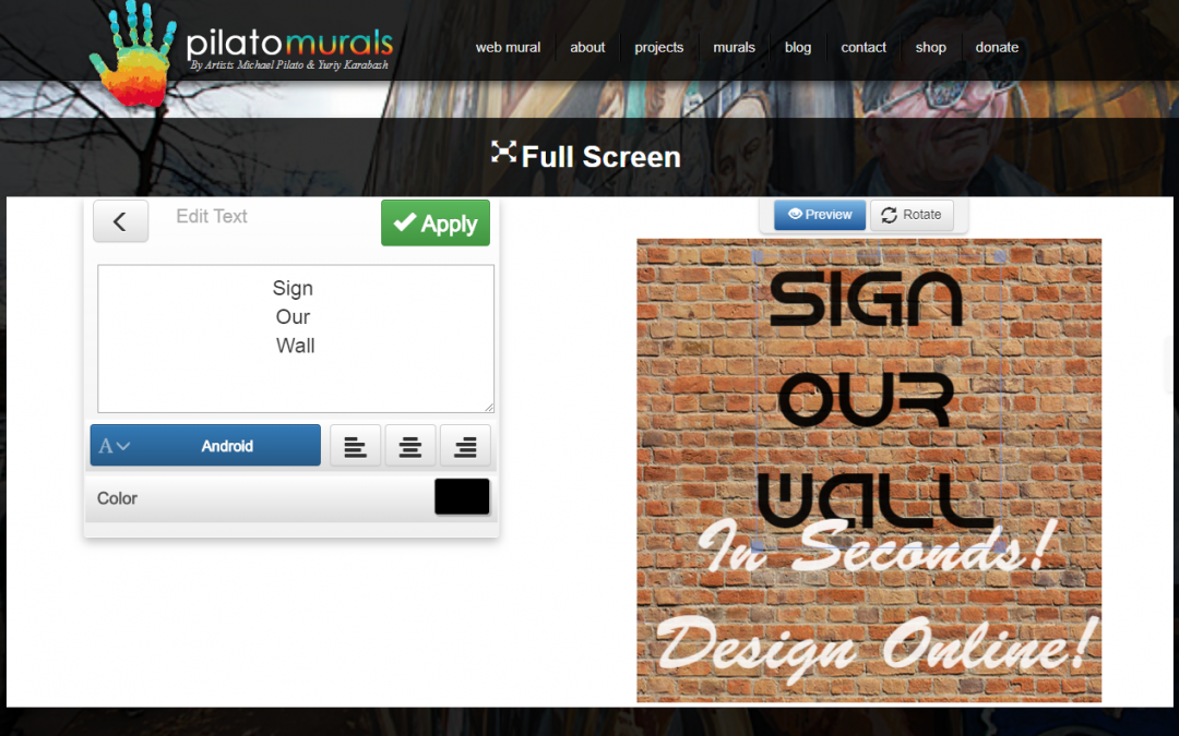 It's Here!  Sign Our Virtual Mural Wall with Your Own Mural Design!